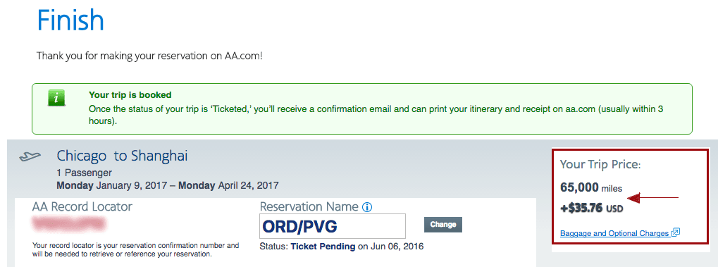 American Airlines Confirmation Page